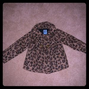 Old Navy Animal Print girls pea coat 3T